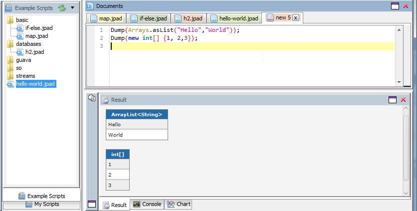 Java Scratchpad showing Hello World