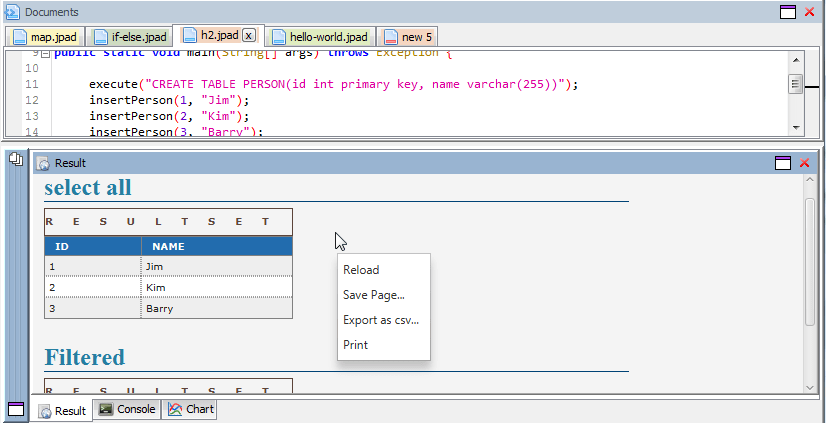 Quick Display of a Java ResultSet
